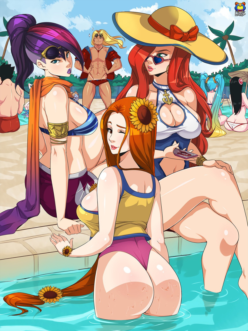 the interracial party summers pool My little pony spike x rarity